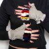 Fingerless Gray Sheepskin Gloves with Colorfull Fox Fur