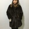 Brown-Black Short Coat with Leather Belt Mahogani Mink Fur