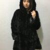 Black Short Coat Fur with Hood Mink Fur