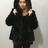 Black Jacket with Hood Mink Fur