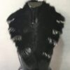 Black - Silver Detachable Collar Fox Fur