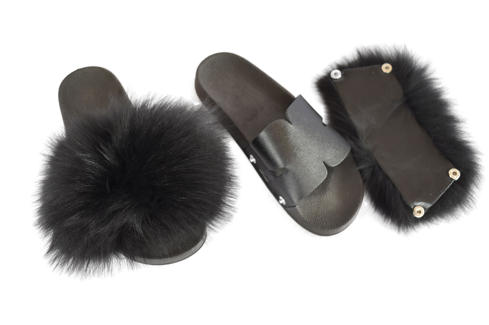 Black Fur Slides In Your Own Style